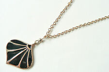 GOLD NECLACE - GLOSSY BLACK PENDANT - ART DECO STYLE - BRAND NEW