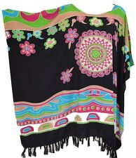 Vibrant Abstract Design Kaftan Top Freesize Ladies Blouse T-Shirt Bright Poncho