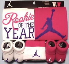 AIR JORDAN Infant GIRLS 5-pc set Bodysuit/Romper Booties Cap PINK/WHITE 0-6M