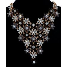 Sparkly Black Grey & White Flower Daisy Drop Gold Statement Necklace
