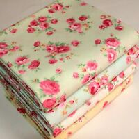 Floral Roses Fabric 100% Cotton Vintage Style Metre, Half Metre or FQ.