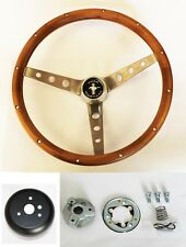 "1965-1969 Ford Mustang Walnut Steering Wheel Kit New 15"" Wood Pony GT Style"