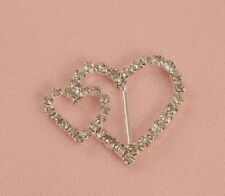 12 'A' GRADE DOUBLE HEART DIAMANTE RHINESTONE CRYSTAL BUCKLE RIBBON SLIDERS