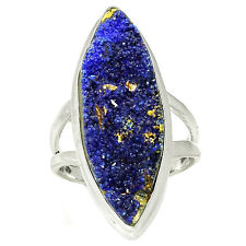 Azurite Druzy 925 Sterling Silver Ring Jewelry s.7.5 AZDR13