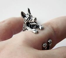 Cute Vintage Silver Adjustable German Shepherd Dog Animal Wrap Ring Nickel Free