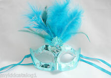 Turquoise blue masquerade party mask ball costume halloween venetian mardi gras