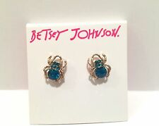 NWT BETSEY JOHNSON PAVE CRYSTAL SPIDER LUX FACETED STONE TEAL GOLD EARRINGS STUD