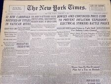 1946 FEB 19 NEW YORK TIMES NEWSPAPER - 32 NEW CARDINALS NOTIFIED TITLES - NT 7