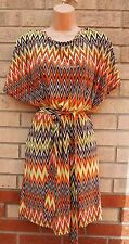 MILE GABRIELLE TRIBAL ORANGE GREEN BROWN AZTEC LYCRA CAPE BELTED SKATER DRESS S