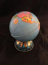 Vintage Ohio Art Tin Litho Globe With Zodiac Base Coin Bank