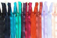 "100 YKK Zips Job Lot Lucky Dip - Sizes 55cm (22"") to 18cm (8"") Assorted Styles"