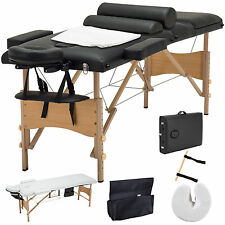 Black 3 Fold Portable Facial SPA Bed Massage Table Sheet+2 Bolster+Cradle+Hanger