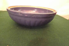 Vintage Blue Stoneware Mixing Bowl Yellow Ware Embossed Design Ex Cond.