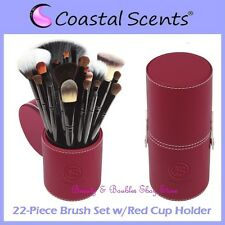 NEW Coastal Scents 22-Piece PROFESSIONAL BRUSH SET w/Red Cup Holder FREE SHIP