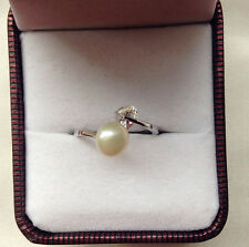 Genuine Cultured Freshwater Pearl S925 Ring 6-7MM Cream Pearl adjustable