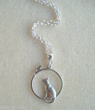 Cute Cat & Mouse Pendant Silver Plated Chain Necklace ~ 21""