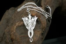 New 925 Sterling Silver LOTR Arwen Evenstar Crystal Pendant Necklace