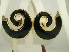 VINTAGE N.O.S. LES BERNARD BLACK ENAMEL EARRINGS WITH TAG! HUGE BEAUTIES