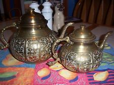 Set of 2 Large Small Matching Etched Carved Brass Tea Pots India? Floral Snake