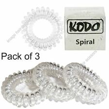 Hair Bands Telephone Wire Styled CLEAR PACK OF 3 Genuine KODO Spiral Hair Bobble