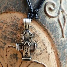 Silver Egyptian RA Cross Ankh  Pewter Pendant With Cotton Necklace # 798