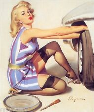 Sexy  Pinup Girl Tire Changer  Refrigerator  Magnet Man Cave Fridge