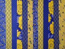 48 X 2 INCH STRIPS COTTON PATCHWORK FABRIC BLUE / YELLOW 22 INCH LONG