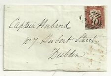 * 1846 STILLINGTON PENNY POST ON YORK 1d IMPERF COVER =930= NUMERAL TO DUBLIN