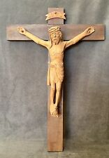 BEAUTIFUL LARGE HAND CARVED WOOD CROSS JESUS CHRIST CRUCIFIX