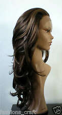 New Premium Quality Gorgeous Mix Brown Synthetic LONG LAYERED Lace Front Wig 24""