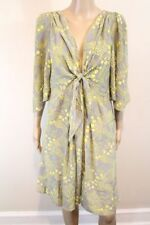 NWOT Anthropologie Yoana Baraschi Bijoux Doux Dress tie grey yellow silk L $178