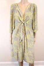 NWOT Anthropologie Yoana Baraschi Bijoux Doux Dress tie grey yellow silk L $178