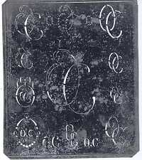 Große Monogramm Schablone OC  Jugendstil   Weißblech 15,5 x 18 cm Weissstickerei