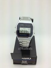 Mens Casio A158W-1 Classic Silver Stainless Band Digital Sport Alarm Watch