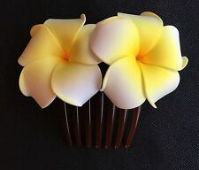 Hawaiian Plumeria Foam Flower Hair Comb Wedding Bridal Prom White Yellow NEW