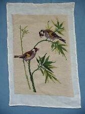 Vintage Needlepoint Tapestry Pillow Cover Wall Decor Two Birds On Bamboo Trees