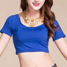 Belly Dance Gilt-Edged Round Neck Choli Top Stretchy Cotton Midriff Dancing Wear