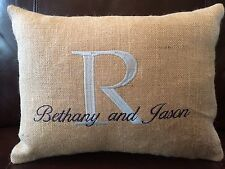 Burlap Monogrammed Personalized Pillow - Wedding, Anniversary, Engagement