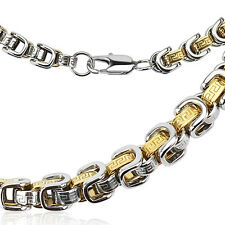 "24"" 8mm width 316L Stainless steel & gold 2 tone maze chain link men's necklace"