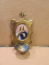 Small Brass Holy Water Font Hand Painted Madonna ? Portrait on Porcelain