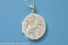 "SOLID Sterling Silver engraved Oval LOCKET Pendant and 18"" chain, Gift Boxed"