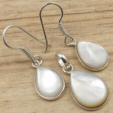 925 Silver Plated Luxury Jewelry SET, White MOTHER OF PEARL Earrings & Pendant