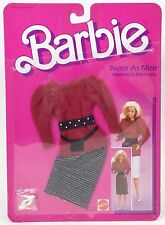 1984 BARBIE TWICE AS NICE REVERSIBLE FASHIONS NO 7950 RED BLACK WHITE NIP