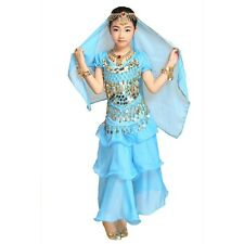 Kids Girls Belly Dance Costume Veil coins beads Top layers full Skirt S M L UK