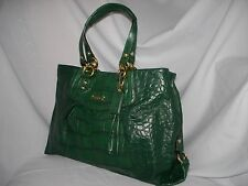 NEW $498 COACH LARGE FOREST GREEN CROC EMBOSSED LEATHER ASHLEY BAG PURSE