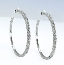 "Large 2-3/8"" Silver-Tone Bezel Set Crystal C-Hoop Hoop EARRINGS"