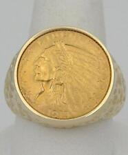 MENS 14K YELLOW GOLD 1913 LIBERTY INDIAN HEAD COIN $2 1/2 DOLLAR HEAVY RING 20mm