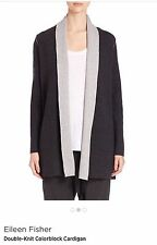 NWT $398 Eileen Fisher  Merino Wool Cashmere Blend Color block Cardigan Size S