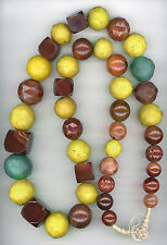 "Antique Faceted Idar-Oberstein Carnelian & Czech Glass Trade Beads 37.5"" Strand"