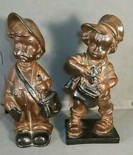 Plaster Boy and Girl mail carriers messengers figures